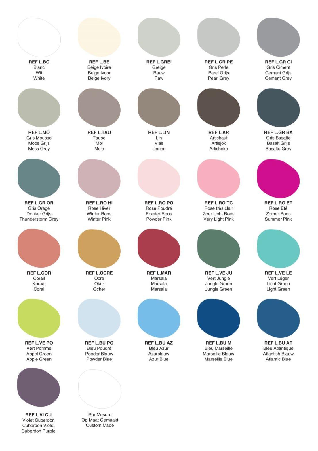 Custom Kids Furniture in Malta - Colour Chart